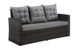 Divano Roma Furniture Outdoor Patio Rattan Bench with Pillows (Grey/Grey)