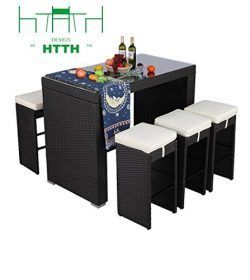 HTTH 7 Piece Outdoor Rattan Wicker Bar Table and Chairs Patio Dining Set (9010-EXP)