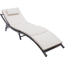 Flamaker Patio Chaise Lounge With Cushion Modern Outdoor Adjustable Furniture Set All-weather PE ...