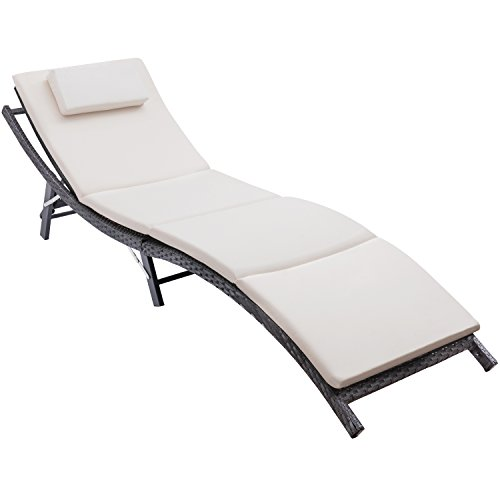 Flamaker Patio Chaise Lounge With Cushion Modern Outdoor