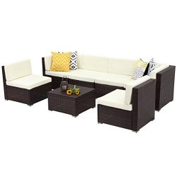 Wisteria Lane Outdoor Conversation Patio Furniture Set,7 PCS Ratten Sectional Sofa Couch with Cu ...