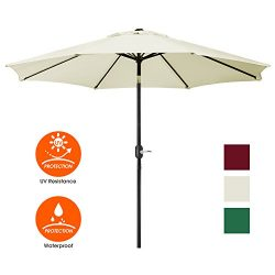UHINOOS 9 ft Patio Umbrella,Outside Table Umbrella with 8 Ribs, 9′ Aluminum Alloy Pole Pat ...