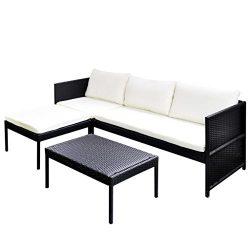 vidaXL Garden Lounge Set Poly Rattan Wicker Black 3-Seat Sofa Patio Outdoor
