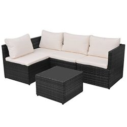 Festnight 5 Piece Outdoor Garden Patio Sectional Sofa Set with Glass Coffee Table Poly Rattan