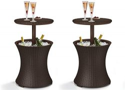 Keter 7.5-Gal Cool Bar Rattan Style Outdoor Patio Pool Cooler Table, Brown (2 PACK)