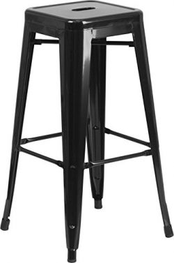 "Flash Furniture 30"" High Backless Black Metal Indoor-Outdoor Barstool with Square Seat"