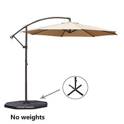 Le Papillon 10-ft Offset Hanging Patio Umbrella Aluminum Outdoor Cantilever Umbrella Crank Lift, ...