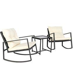 Kosycosy Outdoor 3 Pieces Patio Rocking Set Bistro Set Black Wicker Furniture – Two Rattan ...