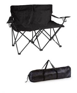 Trademark Innovations 31.5″H Loveseat Style Double Camp Chair with Steel Frame, Black