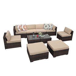 PATIOROMA Outdoor Patio Furniture Set, 10 Piece Sectional Sofa Set with Ottoman, Coffee Glass Ta ...
