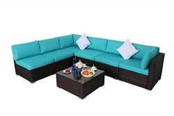 JETIME Outdoor Brown Woven Rattan Couch Wicker 7PCS Sectional Conversation Sofa Set Lawn Garden  ...