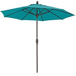 Patio Umbrella 9 Feet Patio Market Table Umbrella with Push Button Tilt, Crank and Umbrella Cove ...