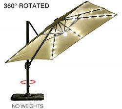 Mefo garden 10 by 10-Feet Offset Cantilever Umbrella, 360° Rotated Outdoor Patio Umbrella with S ...