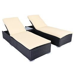 3 PCS Outdoor Patio Wicker Rattan Furniture Sofa Set Adjustable Pool Chair Lounge Chair With Table