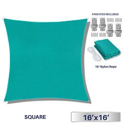 Windscreen4less 16′ x 16′ Square Sun Shade Sail – Solid Turquoise Durable UV S ...