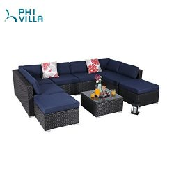 PHI VILLA 9-Piece Patio Furniture Set Rattan Sectional Sofa with Seat Cushions, Blue