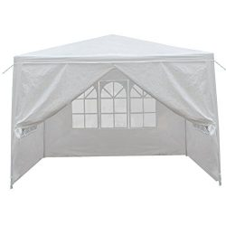 HomGarden 10′ X 10′ Outdoor White Gazebo Canopy Tent with 4 Sidewalls & Windows  ...