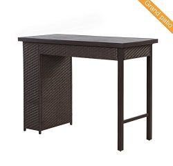 Grand patio Outdoor Wicker Bar Table, Weather-Resistant Patio Bar Table, Brown