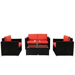 Kinbor Outdoor Patio Furniture Sectional Sofa Set, 4 Piece Garden Rattan Sofa Wicker sectional S ...
