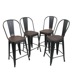 Tongli Metal Barstools Chairs Set Industrial Counter Height Chair (Pack of 4) Patio Dining Chair ...
