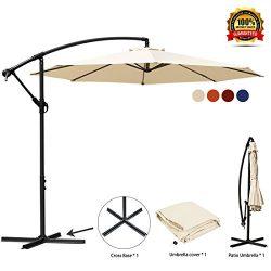 JEAREY Patio Umbrella 10 Ft Offset Cantilever Umbrella Outdoor Market Hanging Umbrellas & Cr ...