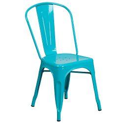 Flash Furniture Crystal Teal-Blue Metal Indoor-Outdoor Stackable Chair