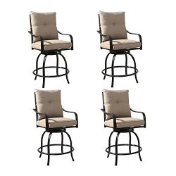 Rimba Outdoor Swivel Patio Bar Stools Chairs with Beige Cushions (Set of 4)