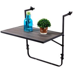 LCH Outdoor Folding Deck Table Steel Frame Patio Balcony Stand Hanging Railing Table Adjustable  ...
