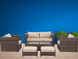 Florida 6 Pieces Outdoor Patio Wicker Sofa Conversation Furniture Set, Toffee