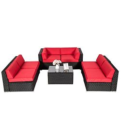 Kinbor Outdoor Sectional Sofa Sets 7 Pieces Patio Recliner Red Wicker Sofa With Free Sofa Clips, ...