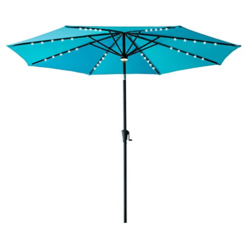 Flame Amp Shade 11 Led Outdoor Patio Market Umbrella With