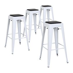 LCH 30″ Metal Industrial Counter Height Bar Stools, Set of 4 Backless Indoor-Outdoor Stack ...