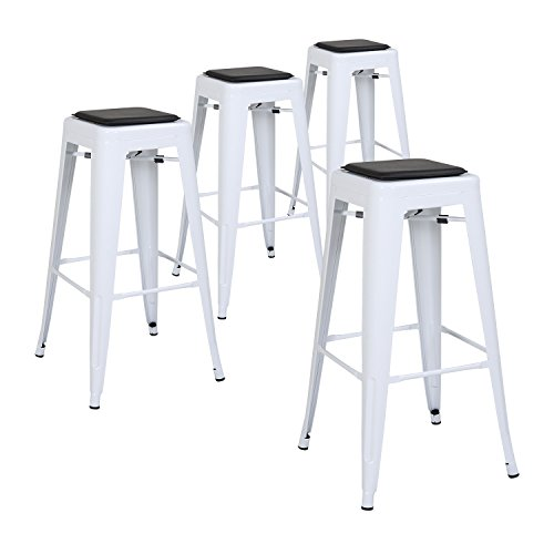 Lch 30 Quot Metal Industrial Counter Height Bar Stools Set Of