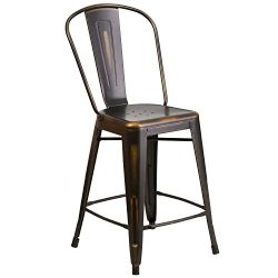 "Flash Furniture 24"" High Distressed Copper Metal Indoor-Outdoor Counter Height Stool with Back"