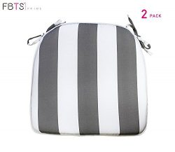 FBTS Prime Outdoor Chair Cushions (Set of 2) 16×17 Inches Patio Seat Cushions Grey and Whit ...
