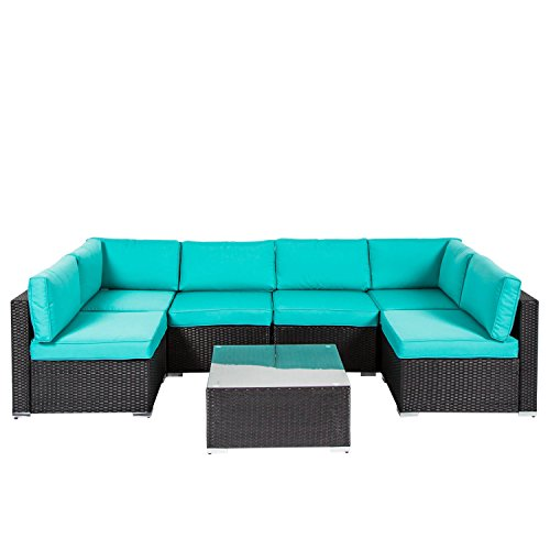 Peach Tree Outdoor Furniture Sectional Wicker Sofa Set 7