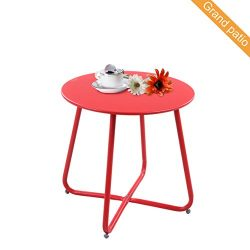 Grand patio Steel Patio Coffee Table, Weather Resistant Outdoor Side Table, Small Round End Tabl ...