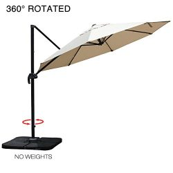 Mefo garden 10 Ft Offset Cantilever Umbrella, 360° Rotated Outdoor Patio Umbrella with Solar LED ...