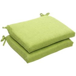 Pillow Perfect Indoor/Outdoor Green Textured Solid Square Seat Cushion, 2-Pack