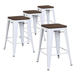 LCH 24″ Metal Industrial Counter Height Bar Stools, Set of 4 Backless Indoor-Outdoor Stack ...