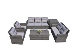 Direct Wicker 6-Piece Outdoor Patio Wicker Sectional Sofa Set with Side Storage Table, Storage C ...