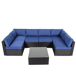 Kinbor Outdoor Sectional Sofa Set 7-Piece Wicker Patio Sofas With Free Sofa Cover & Sofa Cli ...