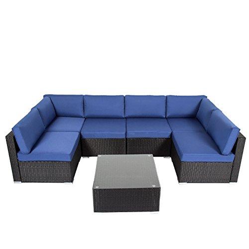 Kinbor Outdoor Sectional Sofa Set 7 Piece Wicker Patio