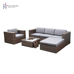 H&L Patio 6PCS Rattan Wicker Sofa Set Outdoor Garden Furniture Cushioned Sofa Set with Ottom ...