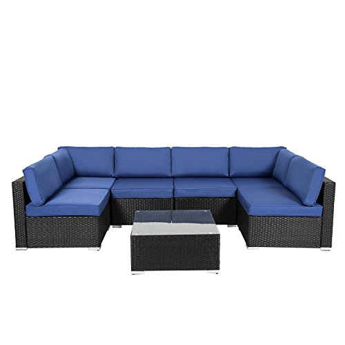Peach Tree Outdoor Furniture Sectional Wicker Sofa Set 7 ...