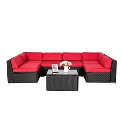 Peach Tree 7Pcs Outdoor Patio PE Rattan Wicker Sofa Sectional Furniture Cushioned Deck Couch Set ...