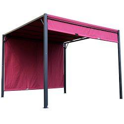 Outsunny 10′ x 10′ Steel Outdoor Retractable Pergola Gazebo Shade Backyard Canopy Co ...