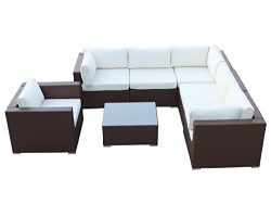 California 7 Pieces Outdoor Patio Wicker Sofa Sectional Furniture Set, Brown