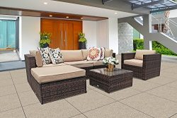 Super Patio Outdoor Furniture, 6-Piece Patio Furniture Sectional Sofa Set, All Weather PE Brown  ...