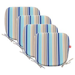 PacifiCasual Indoor/Outdoor Chair Pads Seat Garden Home Patio Chair Cushions (Blue 3(4 set))